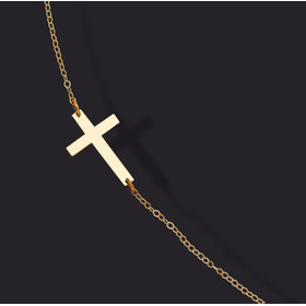 "SWC630P  14kt Yellow Gold  18"" New Sideways Cross Necklace"