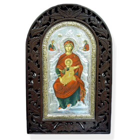"""TC129-V  Serigraph Icon Virgin Mary and Christ 22 KT  Gold Plated 925 Sterling Silver Wooden Frame 22""""x15 1/2""""  Certificate of Authenticity! NEW!!"""