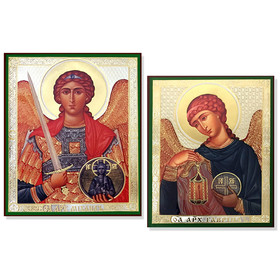 "SF-680-678 ARCHANGEL MICHAEL & RAPHAEL Set of 2  Russian Icons Monted on Wood 6 1/4""x5"""