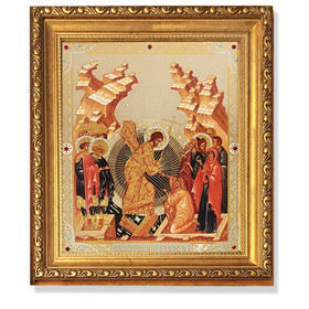 """A93 Resurrection of Christ New Icon Gold Framed With Glass & Crystals NEW!! 10 1/4""""x9"""""""