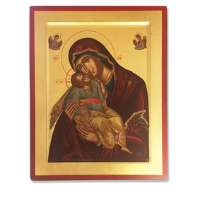 """TES102S Virgin Perpetual Help Serigraph Icon Decorated With Silver & Stones XLG with Cerificate 14 3/4""""x11 3/4"""""""