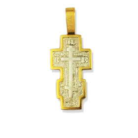 "EC-44 SILVER GOLD PLATED Cross 1 1/4""x5/8"""