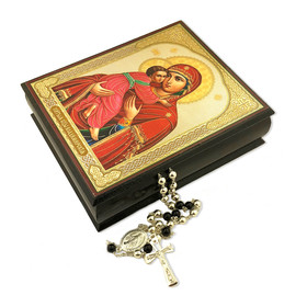 "IBX-6V ICON DECOUPAGE BOX ""VIRGIN OF VLADIMIR"" 4 3/4""x4"""
