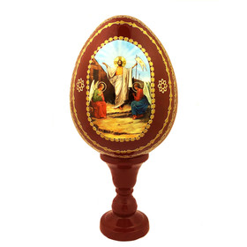 "IED-9R-R Resurrection of Christ Icon Egg RED COLOR FOR EASTER  6 1/4"" NEW"