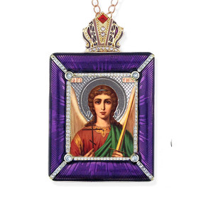 M-15P-9 Madonna & Child Faberge Style Framed Icon W Stand & Chain NEW!