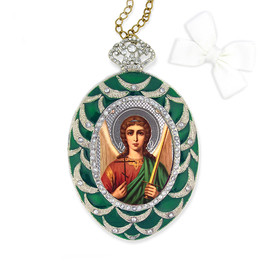 M-4G-05 Virgin Mary  Egg Shape Faberge Inspired Framed Icon With Chain Bow and Crystals NEW!