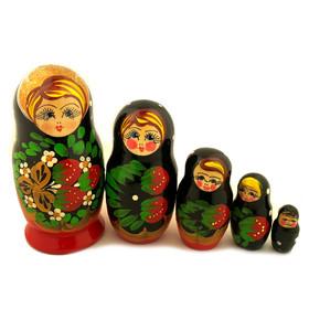 "200-679G Matreshka 5 Nested Doll Hand Painted  4""x2 1/2"""