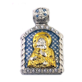 "AD-16 Virgin of Vladimir St Michael Icon Pendant Sterling Silver 925 14kt Gold Gilding 1 1/2""x8/8"" NEW!!"