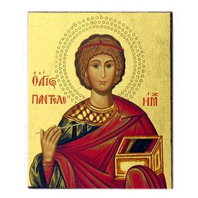 "TS-723  Pontelimon The Healer  Serigraph Greek Icon Icon Bronze Leaf 2 1/4""x2"""