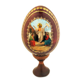 IED-12R  Wooden Icon Egg Resurrection of Christ W Stand