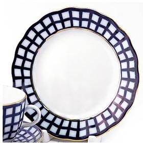 "L3721 Lomonosov porcelain Cobalt Check Dessert Plate 6"""