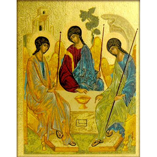 S4315x6 Old Testament Trinity Icon Magnet Greek Serigraph Icon 2 1/4